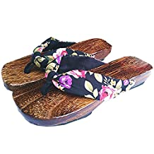 Azbro Japanese Traditional Shoes Geta Wooden Clogs Sandals For Women