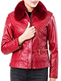 Alion Women's Business Slim Fit Faux Fur Neck PU Leather Jacket Coat Red OS