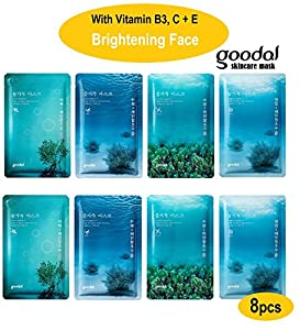 Brightening Face Mask: Water Full Treatment Mask w/ Vitamin (Whitening Vitamin B3 ,Vitamin C &E, Collagen, Hyaluronic Acid) Vitamin C Mask for Face (Goodal Korean Face Mask 8pcs pack by FACIAL-MASK)