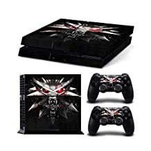 Sony PlayStation 4 Skin Decal Sticker Set - The Witcher 3: Wild Hunt Wolf Head (1 Console Sticker + 2 Controller Stickers)