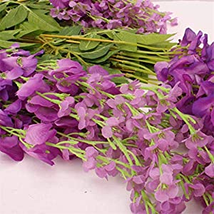 Mikilon Artificial Wisteria Hanging Vine 10 Pack 3.6FT/pcs, Fake Silk Flowers in Natural Chain Garland for Outdoor Wedding Ceremony Arch Party Home Garden Decor (Purple) 2