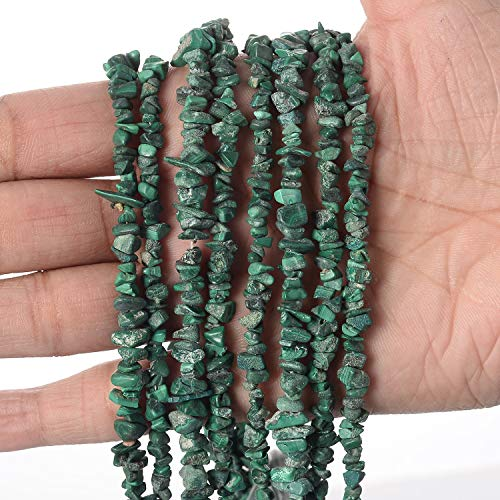 (Jaipur Gems Mart Semi Precious Natural Uncut Chips Nugget Chips/Free Freeform Green Color Malachite Gravel Beads Chips Gemstone Beads 5 Line 34