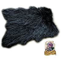 Black Mongolian Highland Sheepskin Faux Fur Shag Rug Thick Long Hair Shaggy Accent Throw (5x7)