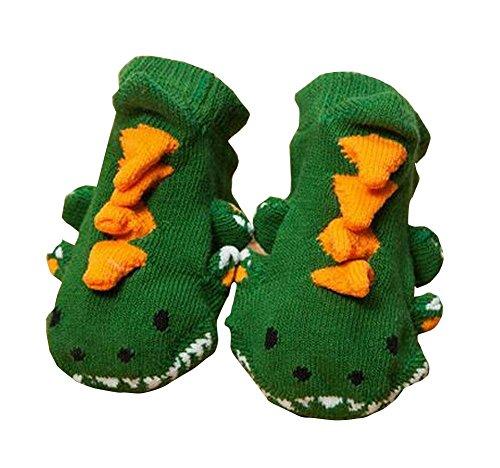 秋/冬のための緑色の綿のベビー/幼児の靴のペア
