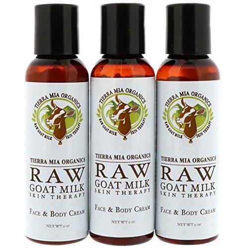 Tierra Mia Organics Raw Goat Milk Skin Therapy Face Body Cream Lavender Vanilla Coconut 3 Bottles 2oz 56 g each