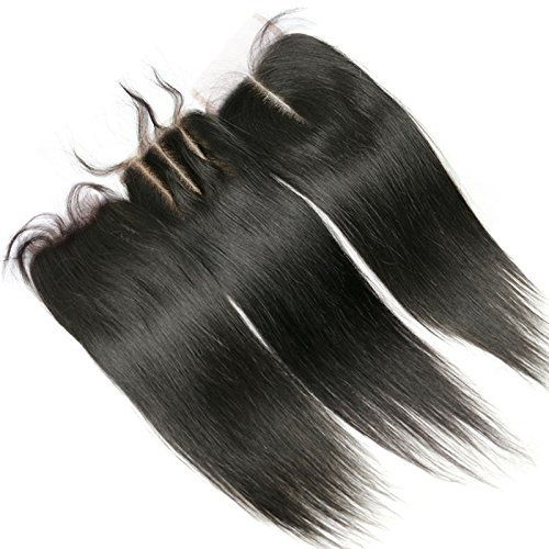 3 Part Remy Lace Front Closure Piece 4x4 Silk Straight Top Closure Natural Color 8 Inch