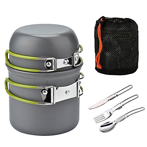 ECVILLA Camping Mess Kit and Cookware Set - Cooking Picnic Bowl Pot Pan Set 2 Piece and Foldable Knife, Foldable Fork, Foldable Spoon