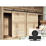 7ft Double Door Cabinet Barn Door Hardware Kit- Mini Sliding Door Hardware-for Cabinet TV Stand-Simple and Easy to Install-Fit 21'' Wide Door Panel (Cabinet NOT Included) (Mini T Shape Hangers)