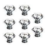 SODIAL(R)8 X LS-D3020 40MM Clear Crystal Glass Diamond Cut Door Knobs Kitchen Cabinet Drawer knobs+Screw Home Decorating