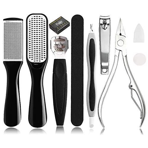 Pedicure Kit Foot File Rasp - Removing Hard, Cracked, Dead Skin Cells - Professional Callus Remover Foot Corn Remover with Nail File for Home Pedicure