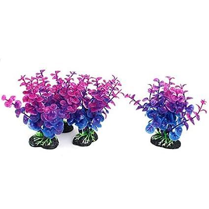eDealMax Azul Púrpura acuario plástico del tanque de pescados de agua Planta de hierba de la