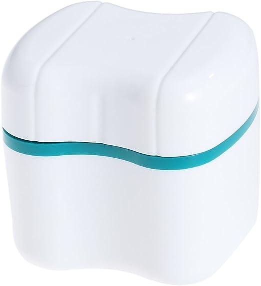 ROSENICE Caja del baño de la dentadura Caja del recipiente de almacenamiento de los dientes falsos con la cesta de enjuague (verde): Amazon.es: Salud y cuidado personal