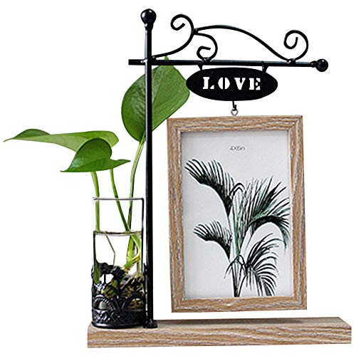 leyoubei Black Metal Love Rectangular Double-Sided Picture Frame Holds 2 pcs 4x6 inch Vertical Pictures with Glass Front for Desk,with Hydroponics or Artificial Plants Glass Vase-Wedding (Brown-4x6)
