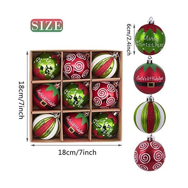 Victor's Workshop Addobbi Natalizi 9 Pezzi 6cm Palle di Natale, Delightful Elf Red Green And White Infrangibile Palla di Natale Ornamenti Decorazione per L'Albero di Natale 2 spesavip