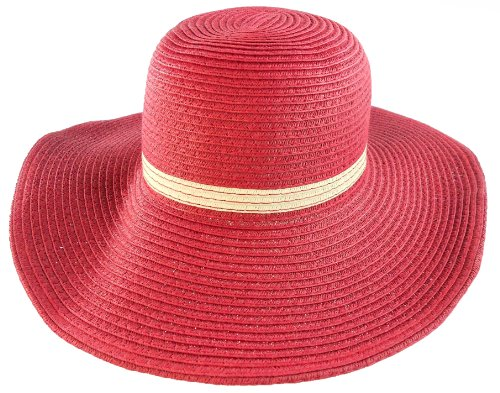 Derby Girls Sun Hat Straw Beach Fashion Style (Red)