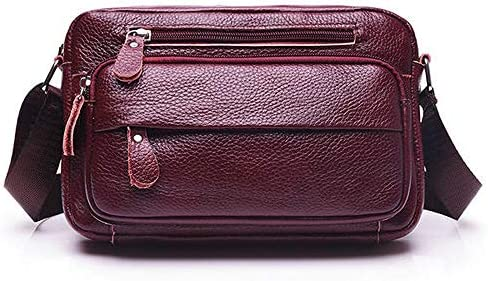 女性本物のレザーマルチポケットクロスボディバッグは、大容量のショルダーバッグを簡潔にする YZUEYT
