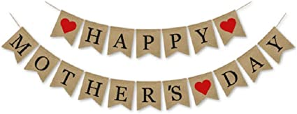 Happy Mothers Day Banner Bunting Party Hanging Garland Decoration Mum Supplies