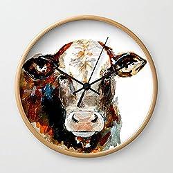 Society6 Cow Watercolor Wall Clock Natural Frame, Black Hands