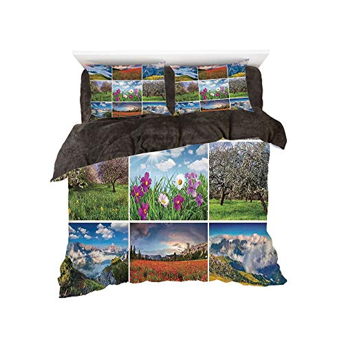 Flannel 4 Pieces on The Bed Duvet Cover Set 3D Printed for Bed Width 4ft Pattern by,Spa,Aromatherapy Purple Lilac Orchid Wellness Spa Fragrant Organic Herbal Oil Soaps Candles,Multicolor
