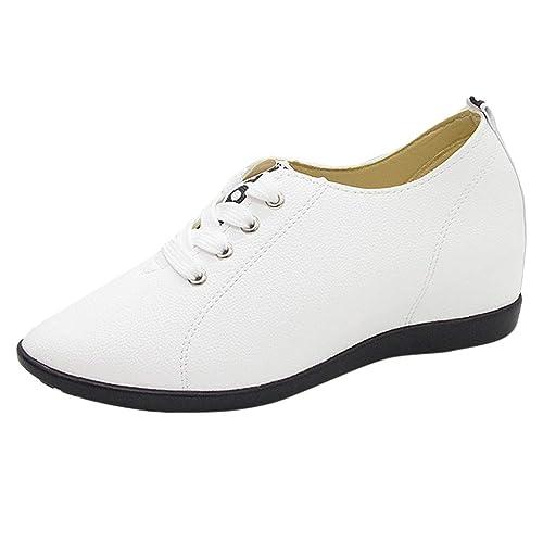 af043c51434f7 Zapatos de Vestir Plano para Mujer Otoño Primavera PAOLIAN Calzado de  Cordones Tacón Bajos Cuña Elegantes Piel Sintético Zapatillas Aire Libre  Deporte ...