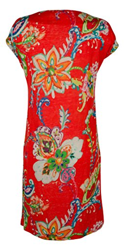 (LAUREN RALPH LAUREN Womens Linen Floral-Print Casual Dress Orange S)
