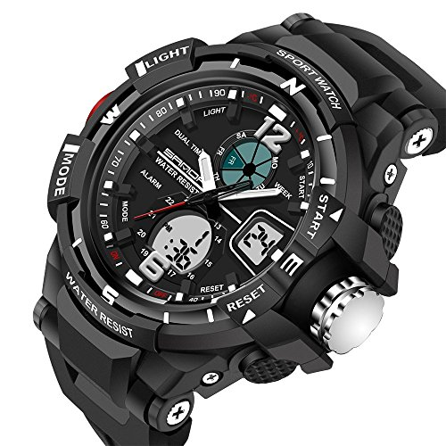 Mens Analog Digital LED Electronic Waterproof Outdoor Sport Watch Military Multifunction Casual Dual Display 12H/24H 30M Water Rsistant Stopwatch Calendar Day Date-Black
