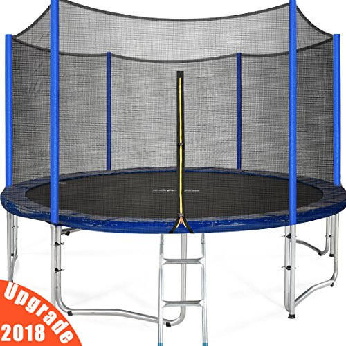 Cheap Zupapa 15 14 12 Ft TUV Approved Trampoline with Enclosure Net and Pole and Safety Pad and Ladder and Jumping Mat and Rain Cover 108 Springs Size 15 Feet