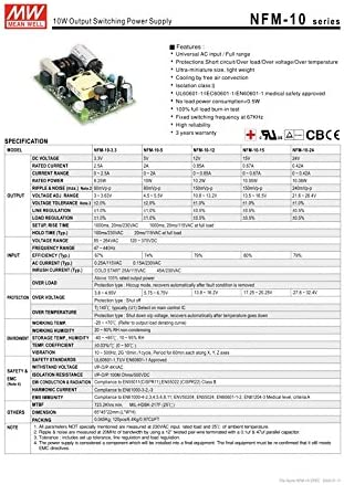 PCB Type Medical PS 10.08W 24V 0.42A NFM-10-24 Meanwell AC-DC SMPS NFM-10 Series MEAN WELL Switching Power Supply