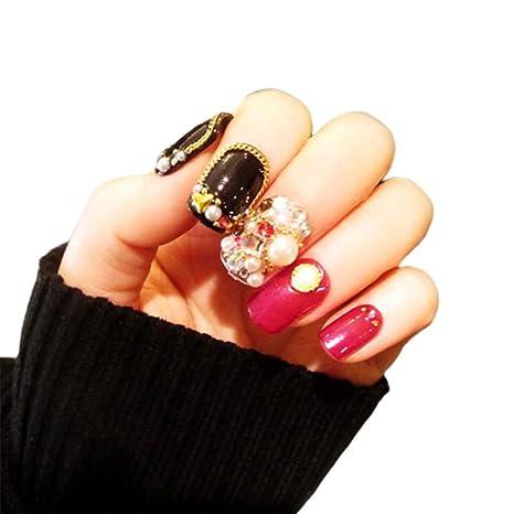 Parche De Uñas Falso 24PCS - Diamante De Imitación/Remache - Moda De ...