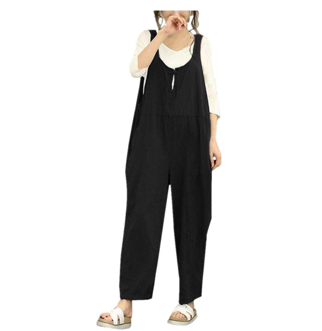 Highpot Women Plus Size Baggy Linen Overalls Wide Leg Pants Rompers Jumpsuit (L, Black)