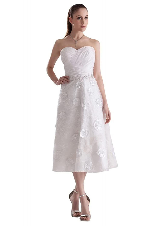 GEORGE BRIDE Elegant Beautiful Sweetheart Tee-Length Wedding Dress/Evening Dress