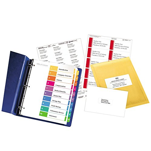10 tab divider template - avery ready index table of contents dividers 10 tab set