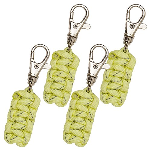 DOMINICORE Paracord Zipper Pulls (Metal Hook Thin Enough to Attach to Almost Any Zipper) 4 Pack - Reflective Yellow