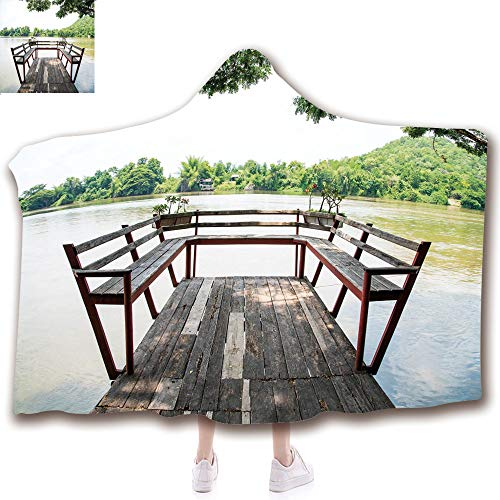 Fashion Blanket Ancient China Decorations Blanket Wearable Hooded Blanket,Unisex Swaddle Blankets for Babies Newborn by,on the Riverside Romantic Calming in Woods Image,Adult Style Children Style ()