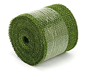 Kel-Toy Jute Burlap Ribbon, 4-Inch by 10-Yard, Olive