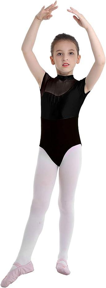 Aislor Kids Girls Yoga Sports Athletic Jumpsuit Mesh Splice Gymnastics Leotard Ballerina Ballet Dance Gym Unitard