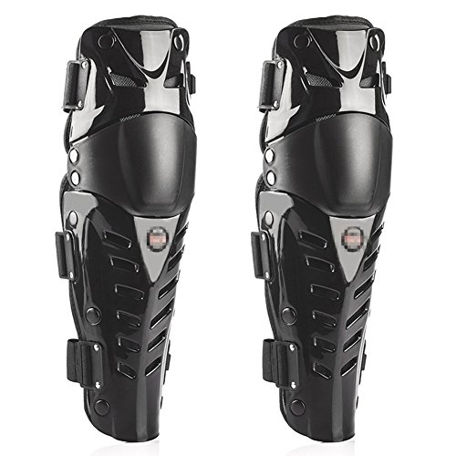 Guards Roller Shin (Runworld 1 Pair of Adults Fashion Knee Shin Armor Protect Guard Pads Accessories with Plastic Cement Hook for Motorcycle Motocross Racing Protective Gear (Black))