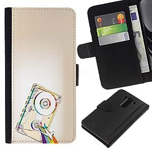 KLONGSHOP // Tirón de la caja Cartera de cuero con ranuras para tarjetas - Psicodélico de la cinta del arco iris - LG G3 //