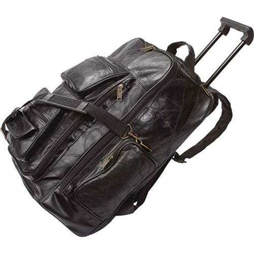 19' Wheeled Backpack (Dancing Stone Black 19'' Leather Rolling Trolley Backpack Wheeled Cart Carry Travel)