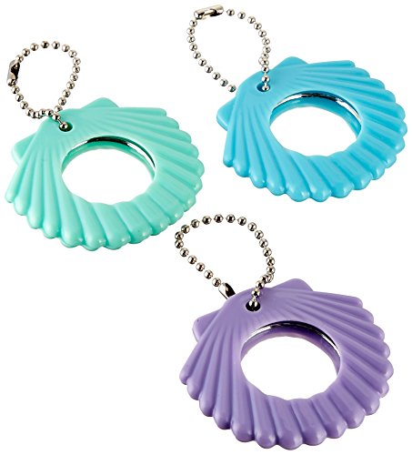 Disney Ariel Seashell Compact Mirror Keychain Birthday Party Favours (12 Pack), Multi Color, 2 1/4