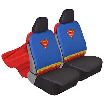 Superhero Seat Covers with Detachable Cape Backing - Front Car Seat Covers & Seat Back Protector  (Superman): Automotive