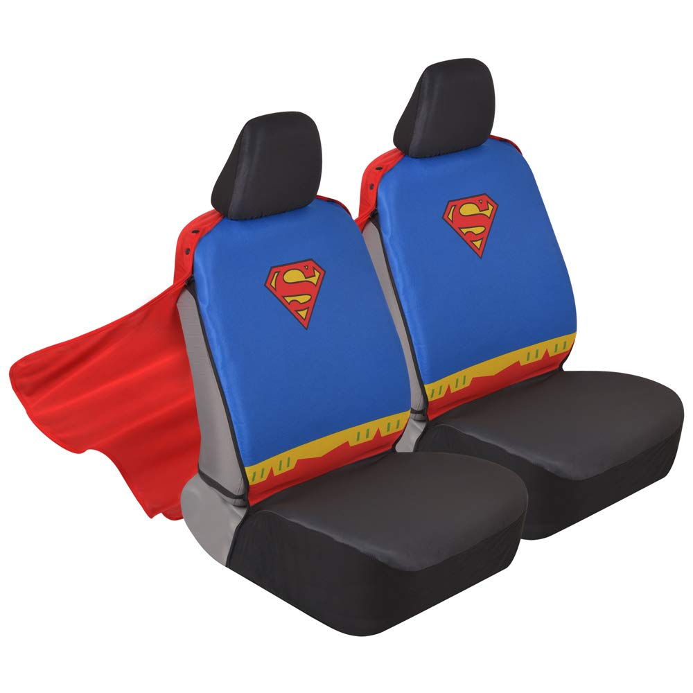 Superhero Seat Covers with Detachable Cape Backing - Front Car Seat Covers & Seat Back Protector (Wonder Woman) BDK