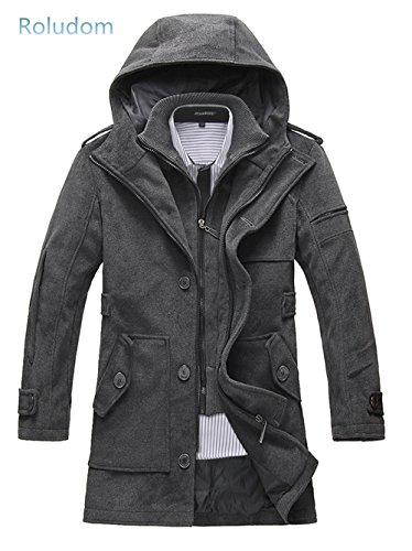 Roludom Men's Winter Thick Velvet Slim Hooded Fur Collar Cotton Coat