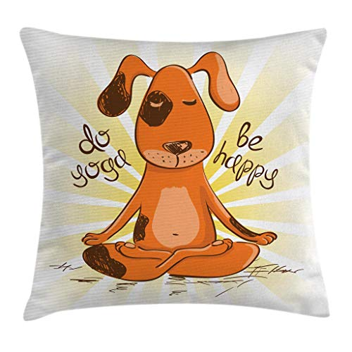 Ambesonne Cartoon Throw Pillow Cushion Cover, Do Yoga Be Happy Cartoon Red Dog Sitting on Lotus Position of Yoga Fun, Decorative Square Accent Pillow Case, 18 X 18 Inches, Orange Yellow White