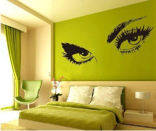 Large Audrey Hepburn's Eyes Vinyl Wall Decal Girl's Bedroom Living room Art Decor Girl's Birthday Gift Pub Bar Salon Hotel Ornament Wall Tattoo – 45'' Black