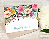 MULTI FLOWER FOLDED - Personalized FOLDED Stationery Set - Personalised Watercolor Pink and Orange Roses Wedding Elegant Script Note Cards, Hand Drawn Rustic Calligraphy Stationary