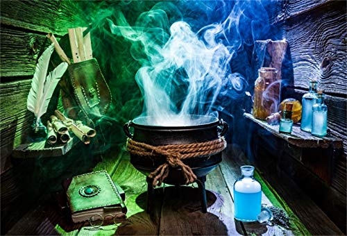 LFEEY 7x5ft Magic Potion Background Witch Soup Photography Backdrop Wizard Toxicant Bottle Medieval Alchemy Vintage Magical Power Book Spellbook Magician Halloween Photo Studio Props Vinyl Banner]()