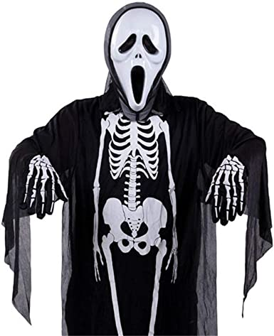 Adult Kids Skeleton Ghost Clothes Halloween Family Party Fancy Dress Gloves Kit