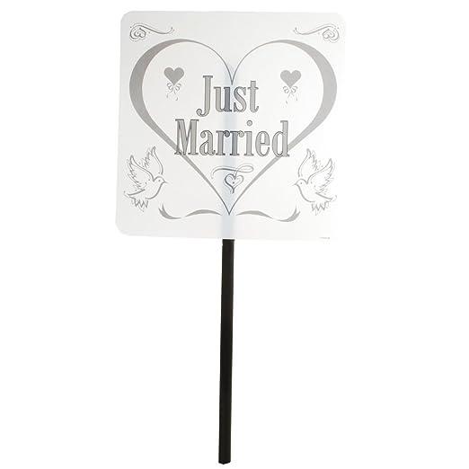 Precio en el palo® Cartel con varilla - Just Married: Amazon ...