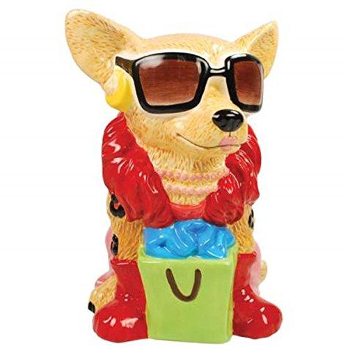 WL SS-WL-13763 Tan Chihuahua Super Shopper Painted Ceramic Piggy Bank, 8.25